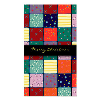 Gift Tag Xmas Christmas Mosaic Patchwork Pattern Business Cards