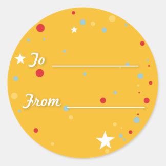 Gift Tag - Yellow Round Sticker