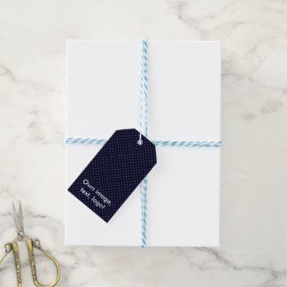Gift Tags Dark Blue with White Dots