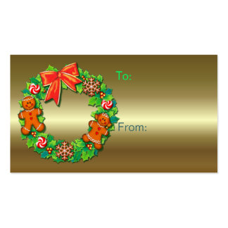 GIFT TAGS HOLLY, KIDS WREATH by SHARON SHARPE Double-Sided Standard Business Cards (Pack Of 100)