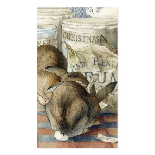 Gift Tags Merry Christmas Rabbits Double-Sided Standard Business Cards (Pack Of 100)