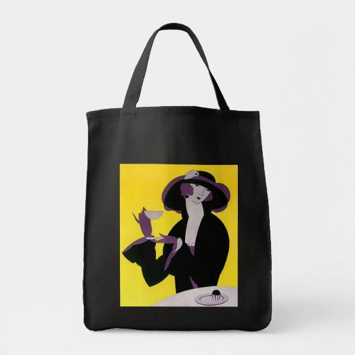 GIFT TOTE BAG ~ ART DECO STYLISH LADY AT TEA TIME