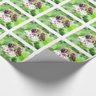 Gift Wrap - Honey Bee on Clover
