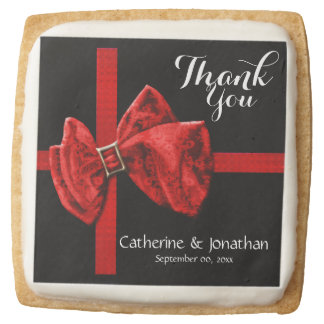 Gift wrap ribbon red black square shortbread cookie