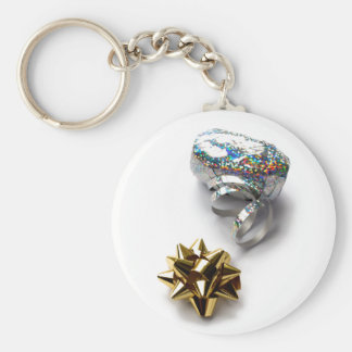 Gift Wrap Shiny Bow and Ribbon Round Keychain