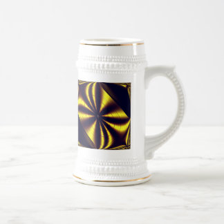 Gift Wrapped Gold Trim White Stein