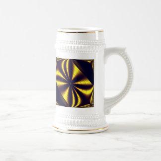 Gift Wrapped Gold Trim White Stein 18 Oz Beer Stein