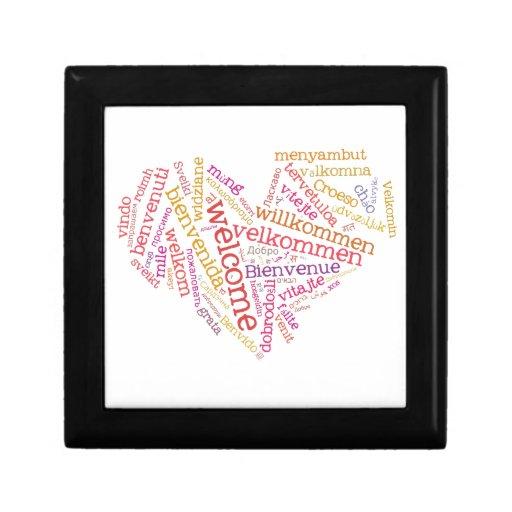 Giftbox agradable de la teja del corazón (muchas i joyero cuadrado pequeño