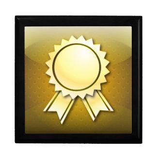 Giftbox golden award ribbon or medal jewelry box