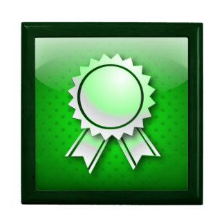 Giftbox green award ribbon or medal jewelry box