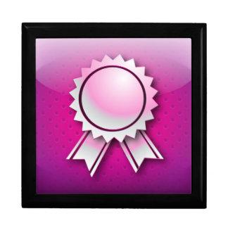 Giftbox pink award ribbon or medal keepsake box