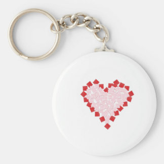 Giftboxes in the shape of a heart basic round button keychain