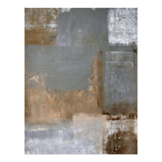 'Gifted' Grey and Beige Abstract Art Poster Print