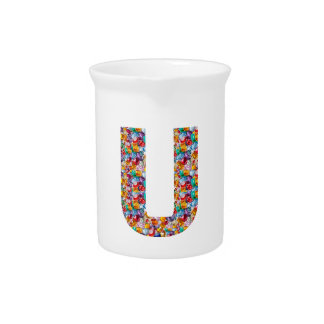 Gifts alphabet U UU name birthday girl boy kids Beverage Pitchers