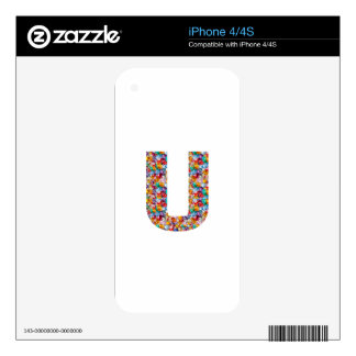 Gifts alphabet U UU name birthday girl boy kids Decals For The iPhone 4