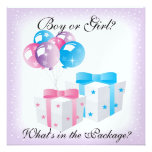 Gifts and Balloons Baby Gender Reveal Party Invit Personalized Announcements