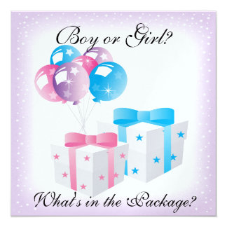 Gifts and Balloons Baby Gender Reveal Party Invit 5.25x5.25 Square Paper Invitation Card
