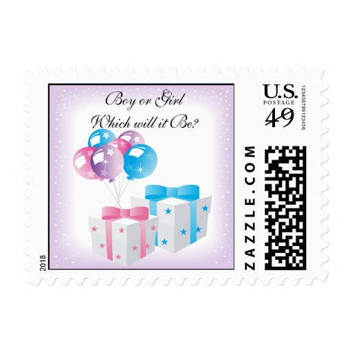 Gifts and Balloons Baby Gender Reveal Postage