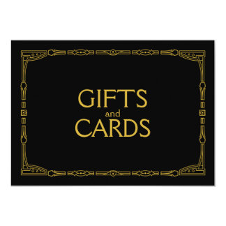 """Gifts and Cards"" Gold Art Deco Style Wedding Sign Card"
