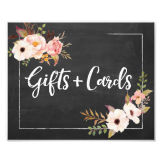 Gifts and Cards Rustic Floral Wedding Sign Photo Print