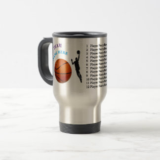 Gifts for Basketball Coach, Your Text, Team Colors Travel Mug