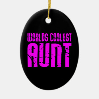 Gifts for Cool Aunts : Pink Worlds Coolest Aunt Ceramic Ornament