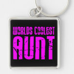 Gifts for Cool Aunts : Pink Worlds Coolest Aunt Key Chains