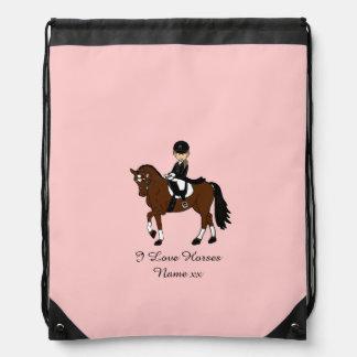 Gifts for girls - I love horses - dressage rider Drawstring Bag