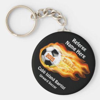 Gifts for Soccer Referees or Coaches, 4 Text Boxes Keychain