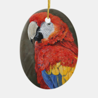 Gifts for the Parrot lover. Scarlet Macaw Ceramic Ornament