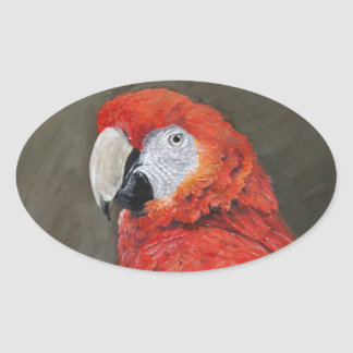 Gifts for the Parrot lover. Scarlet Macaw Oval Sticker