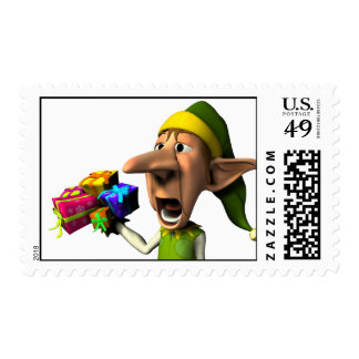 Gifts from a yawning Elf Postage Stamp