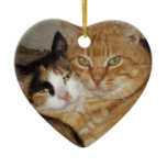 Gifts Gatos Adornments Double-Sided Heart Ceramic Christmas Ornament