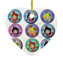 Gifts of I am Very Flamenco Multicoloured… Double-Sided Heart Ceramic Christmas Ornament