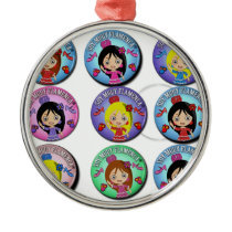 Gifts of I am Very Flamenco Multicoloured… Round Metal Christmas Ornament