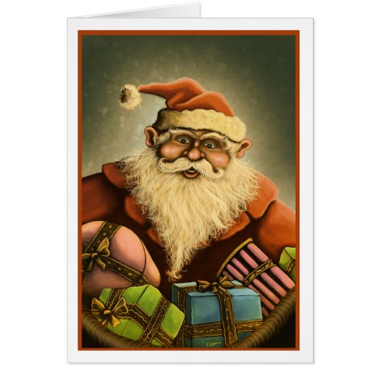 gifts of the Santa Claus Christmas card with edge