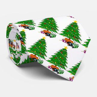 Gifts under the Christmas tree on a white backgr. Neck Tie