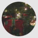 Gifts Under the Tree Christmas Holiday Presents Classic Round Sticker