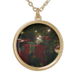 Gifts Under the Tree Christmas Holiday Presents Gold Plated Necklace