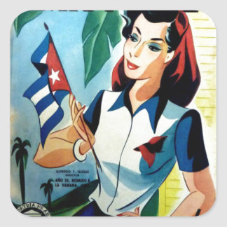 Gifts Vintage Small Cuba RetroCharms Flag Square Sticker