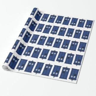Giftwrap azul del friki de la caja de POLICÍA Papel De Regalo