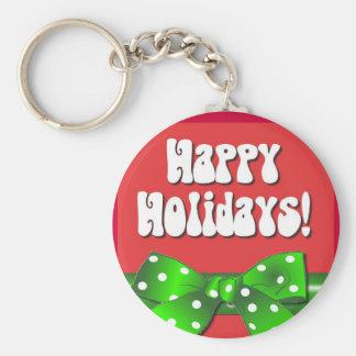 Giftwrap Happy Holidays Basic Round Button Keychain