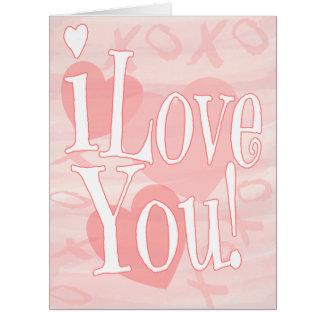 Gigante te amo cuaesquiera corazones del rosa de tarjeta de felicitación grande