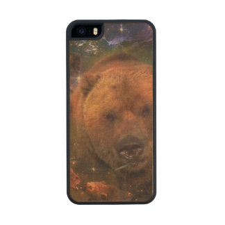 Gigantic Bear with Cubs Wood Phone Case For iPhone SE/5/5s