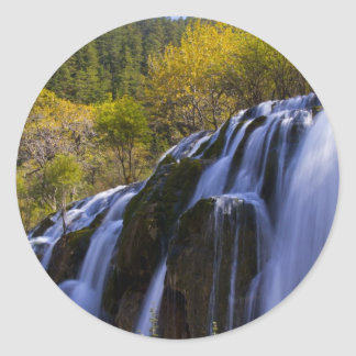 Gigantic Waterfall in a China Jiuzhaigou Classic Round Sticker