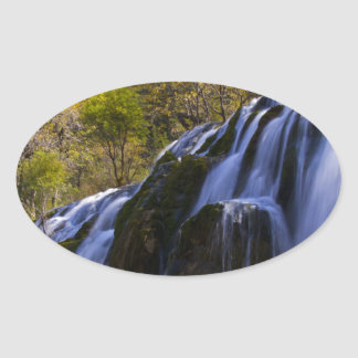 Gigantic Waterfall in a China Jiuzhaigou Oval Sticker