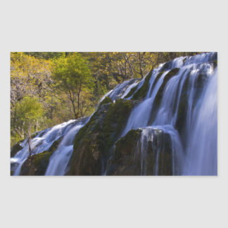 Gigantic Waterfall in a China Jiuzhaigou Rectangular Sticker