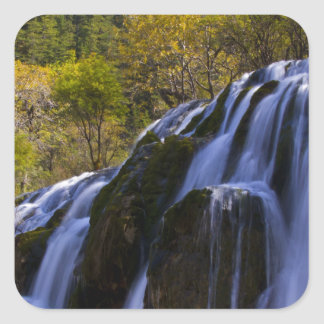 Gigantic Waterfall in a China Jiuzhaigou Square Sticker