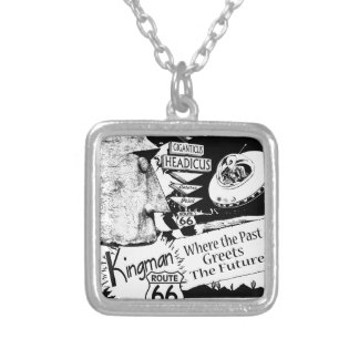 Giganticus Headicus Route 66 Alien UFO Silver Plated Necklace