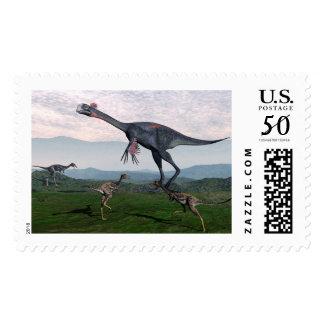 Gigantoraptor and small mononykus dinosaurs - 3D r Postage